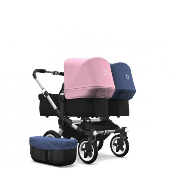 Bugaboo Donkey 2 Twin Gemelar aluminio negro combinado rosa pastel y azul cielo