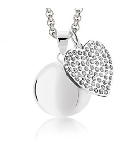 Llamador de Angeles corazón con cristales y cadena de acero MAMIJUX