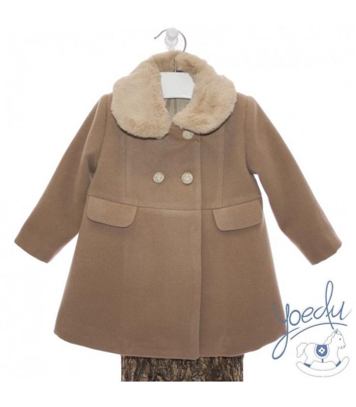Abrigo de paño para niña con cuello desmontable firma Yoedu. 55dc78edecb