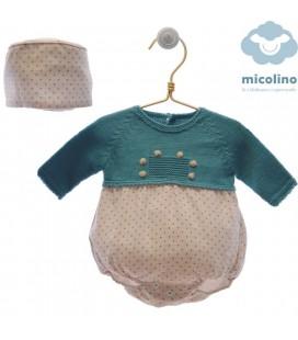 Pelele bebe con capota Hector de MICOLINO