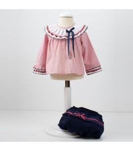 Conjunto blusa y culetin colección marino y rojo Loan bor